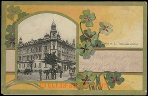 62036 - 1905 Kolín - collage, credit bank, people; long address, Us
