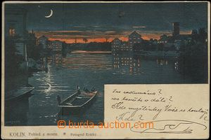62037 - 1899 Kolín - night view over river; long address, Us, light