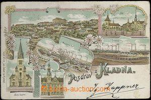 62039 - 1900 Kladno - litografická koláž, železárny, Poldina huť; DA