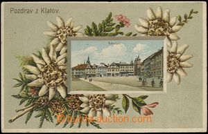 62042 - 1906? Klatovy - lithography, embossed; long address, Us in 1