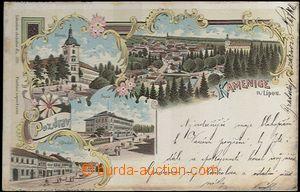 62048 - 1899 Kamenice nad Lipou - litografická koláž; DA, prošlá, ox