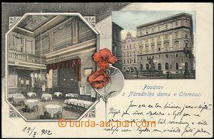 62078 - 1902 OLOMOUC - 2-záběrová barevná koláž, Národní dům a jeho