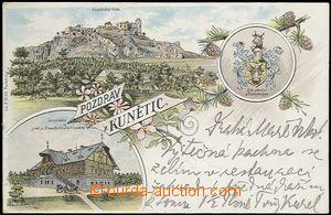 62089 - 1898 Kunětice - litografická koláž, Pernštejnský znak; DA, p