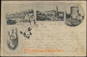 62095 - 1894 Český Krumlov (Krumau) - 4-views collage, outlook-tower