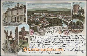 62096 - 1897 Český Krumlov - lithography, outlook-tower Kleť; long a