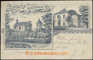 62102 - 1903 Kostomlaty nad Labem - 2okénková koláž, kostel, škola;