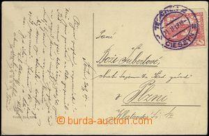 62173 - 1919 pohlednice vyfr. zn. 10h Hradčany Pof.5, modré (!) DR