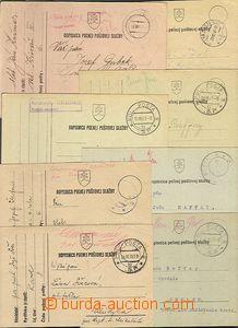 62184 - 1939-43 8ks dopisnic PP, 7x prošlé poštou, 1x bianko otis