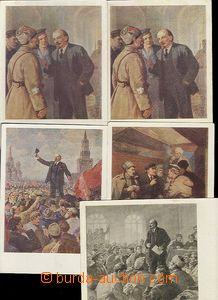 62207 - 1961 Lenin, 5 pcs of drawn p.stat Ppc, 4x color, Un, good co