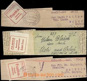 62248 - 1918 3x emergency provisory, newspaper wrappers with address