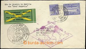 62249 - 1930 BRAZIL,  air-mail letter to USA with Zeppelin franking