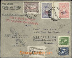 62250 - 1932 ARGENTINA,  Reg and airmail letter to Germany with Zepp