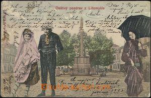 62303 - 1900 Litomyšl - koláž, postavy na náměstí; DA, prošlá, lom v