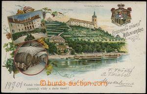 62306 - 1901 MĚLNÍK - litografická koláž, vinná réva, vinný sklep, n