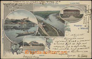 62310 - 1904 Mělník - 4okénková koláž, vinařská škola, nádraží, lodi