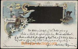 62311 - 1898 salute from nočního town (sent from Mělník), lithog