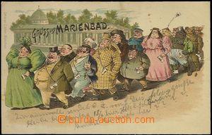 62313 - 1900 Mariánské Lázně (Marienbad) - litografie, karikatura ná