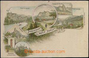 62317 - 1900 MALÁ SKÁLA - litografická koláž, rozhledna Na Kopa
