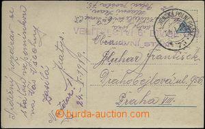 62350 - 1919 pohlednice do Prahy prošlá Čs.PP č.75/ 24.I.19, ř�
