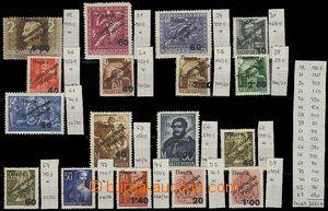 62365 - 1945 sestava 17ks přetiskových známek, bez ověření, u