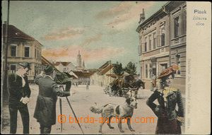 62384 - 1905 Písek - collage, figures and dog in the square; long a