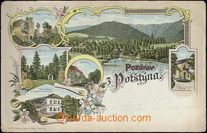 62391 - 1898 Potštejn - litografická koláž; DA, prošlá, odřené rohy,