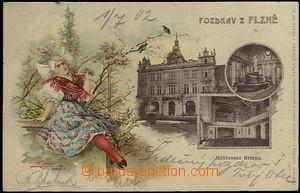 62397 - 1902 Plzeň - 3-záběrová koláž, litografie, dívka v kroji; DA