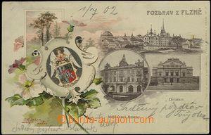62398 - 1902 Plzeň - 3-záběrová koláž, litografie, krajinka a erb; D