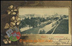 62402 - 1902 Plzeň - 1záběrová koláž, nábřeží, erb, čtyřlístek; DA,