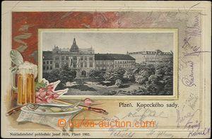 62405 - 1902 Plzeň -  koláž, zátiší s pivem, tlačená; DA, prošlá, zl