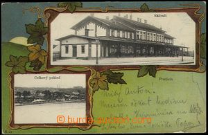 62408 - 1902 Protivín - 2-views collage, railway-station; long addr