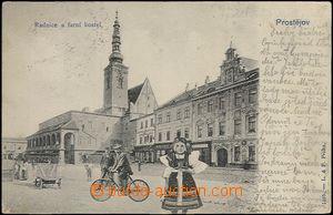 62409 - 1905 Prostějov - koláž, postavy na náměstí; DA, prošl