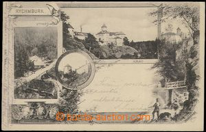 62448 - 1902 Rychmburk - 4-views collage, castle, mill; long address