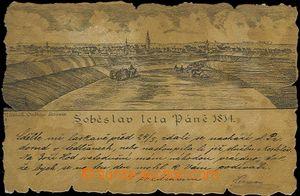 62449 - 1901 Soběslav - imitace historického dokumentu, ozdobný ořez