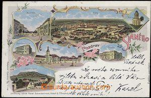 62451 - 1899 Slaný - litografická koláž; DA, prošlá, krátké natržení