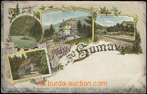 62471 - 1900 Šumava - litografická koláž, nádraží na Špičáku, Černé