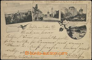 62476 - 1893 Teplice (Teplitz) - 4-views collage; long address, Us,