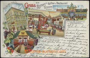 62477 - 1905 Děčín (Tetschen) - litografická koláž, restaurant Pesch