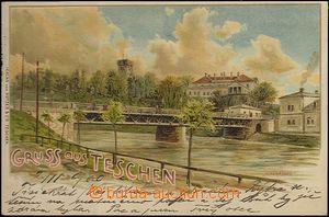 62481 - 1900 ČESKÝ TĚŠÍN / CIESZYN (Teschen) - litografie, most