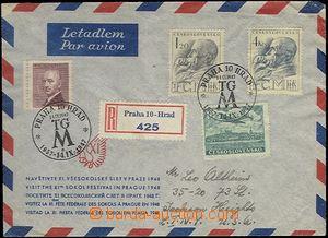 62518 - 1947 R+Let. dopis do USA vyfr. zn. Pof.445, 458-9, L20, PR P