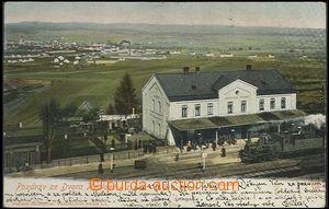 62526 - 1904 Dvůr Králové - nádraží, vlak; DA, prošlá, odřené růžky