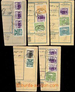 62532 - 1920 comp. 5 pcs of parcel dispatch card segments with vario