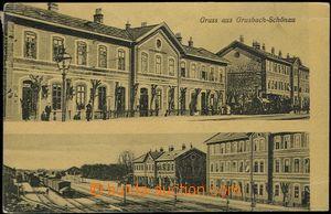 62536 - 1910 Hrušovany above Jevišovka (Grusbach) - 2-views, 2x ra