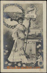 62545 - 1906 Jičín - fotografická koláž, 3okénková pohlednice, dáma