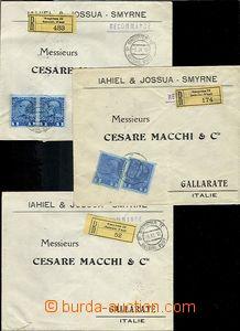 62546 - 1913 LEVANTE  sestava 6ks dopisů frankovaných zn. Mi.63, 3
