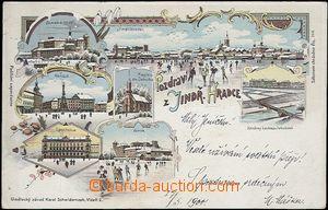 62547 - 1900 Jindřichův Hradec - litografická koláž, zimní pohledy,