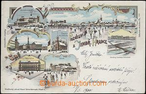 62547 - 1900 Jindřichův Hradec - lithography, winter views, bruslaři