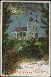 62550 - 1901 Krnov (Jägerndorf) - litografie, noční Cvilín; DA,