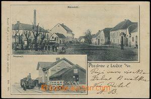 62558 - 1900 Lužec nad Vltavou - 2okénková, nádraží, lokomotiva, nám