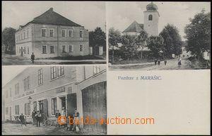 62560 - 1920 Morašice u Litomyšle - 3okénková, kostel, lidé před obc